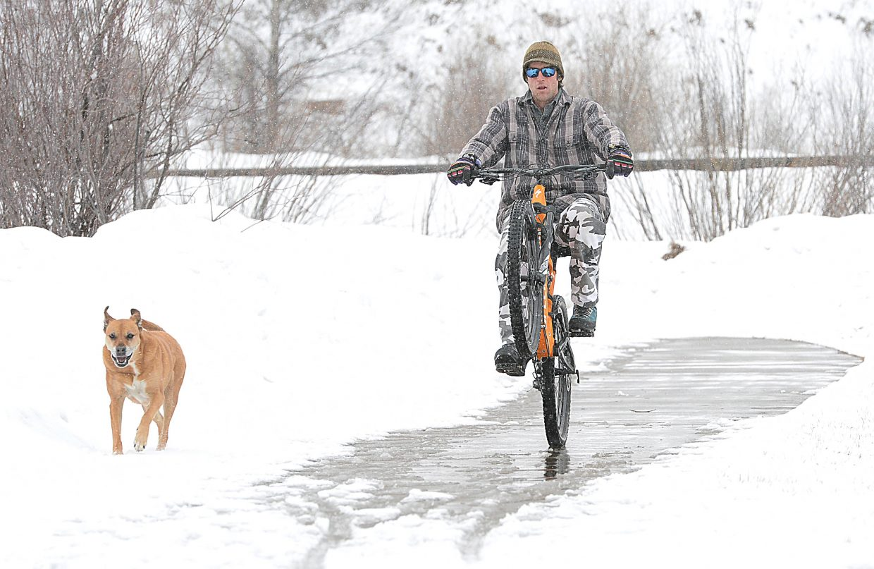 Cyclist Matt Spady takes advantage of a melted patch of snow to ride a wheelie while making his way along the Yampa River Core Trail with his dog Kouli Monday afternoon.