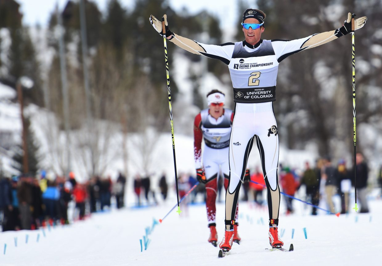 Colorado's Mads Stroem throws out his arms as he made it a perfect weekend. He won Thursday's freestyle Nordic skiing race, then came back to win Saturday's Classic race.