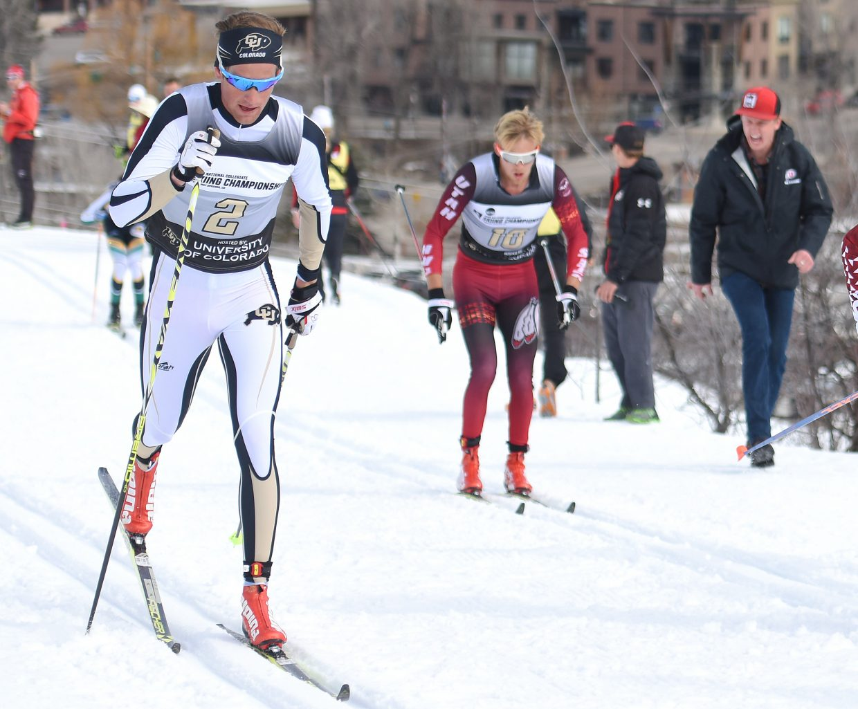 Mads Stroem glides down the trail Saturday during the men's 20K classic Nordic skiing race at the NCAA Skiing Championships in Steamboat Springs. He went on to win the event, his second victory of the weekend.