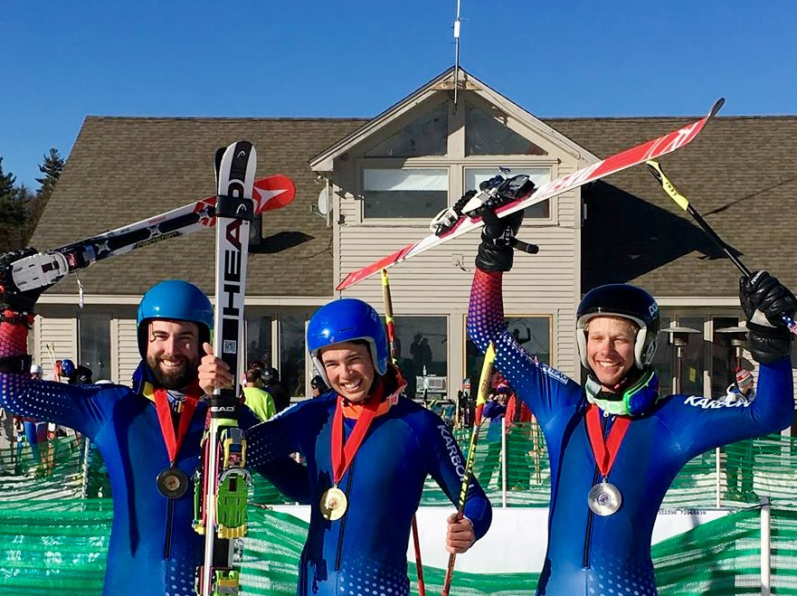 Steamboat Springs Telemark skiers Tanner Visnick, center, and Jeffrey Gay, right, took first and second, respectively, at the FIS Telemark National Championships in New Hampshire last week.