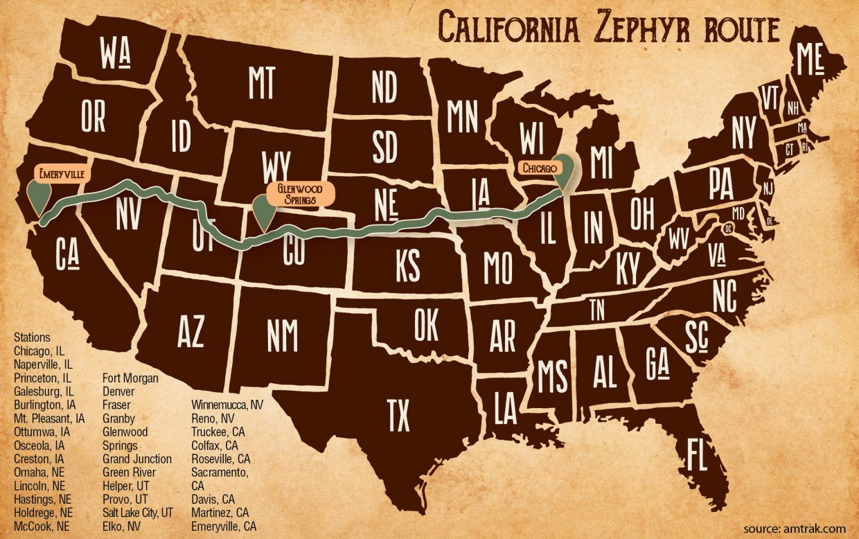 Map Of California Zephyr Route.Riding The California Zephyr From Colorado To The Redwoods