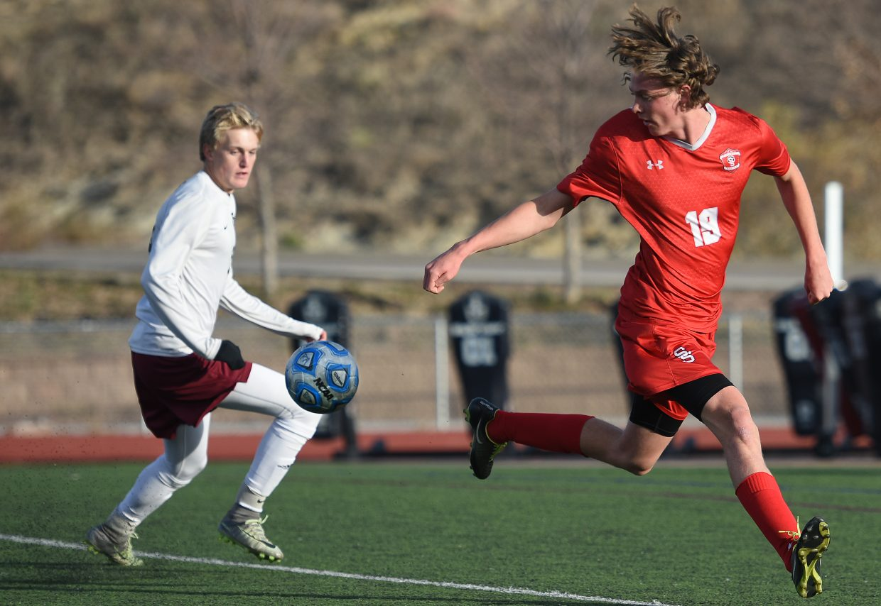 Steamboat's Will Beurskens tries to get in front of the ball Tuesday against The Classical Academy.