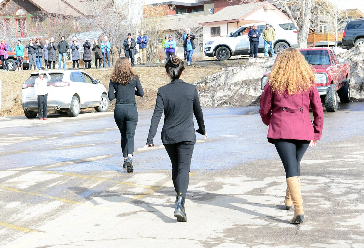 Student organizers head off campus to thank community members who came out to support a walkout at the high school Wednesday morning in Steamboat Springs. The walkout was to protest gun violence and to remember the victims of the shooting at the Marjory Stoneman Douglas High School in Parkland, Florida, that took the lives of 17 people.