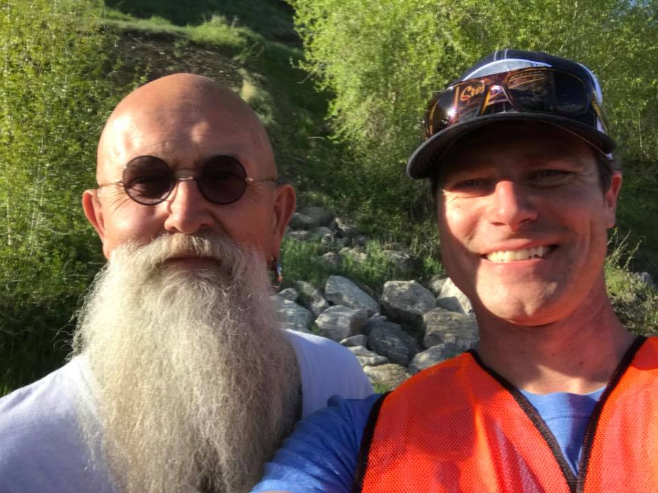 Gary from South Dakota, on the left, stopped to help Steamboat's Kerry Shea pick up trash during Routt County Clean-Up Day.
