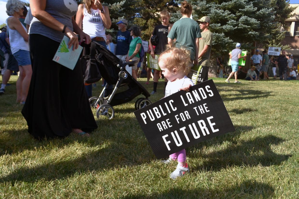 Eighteen-month-old Hazie Olsen holds a protest sign at the