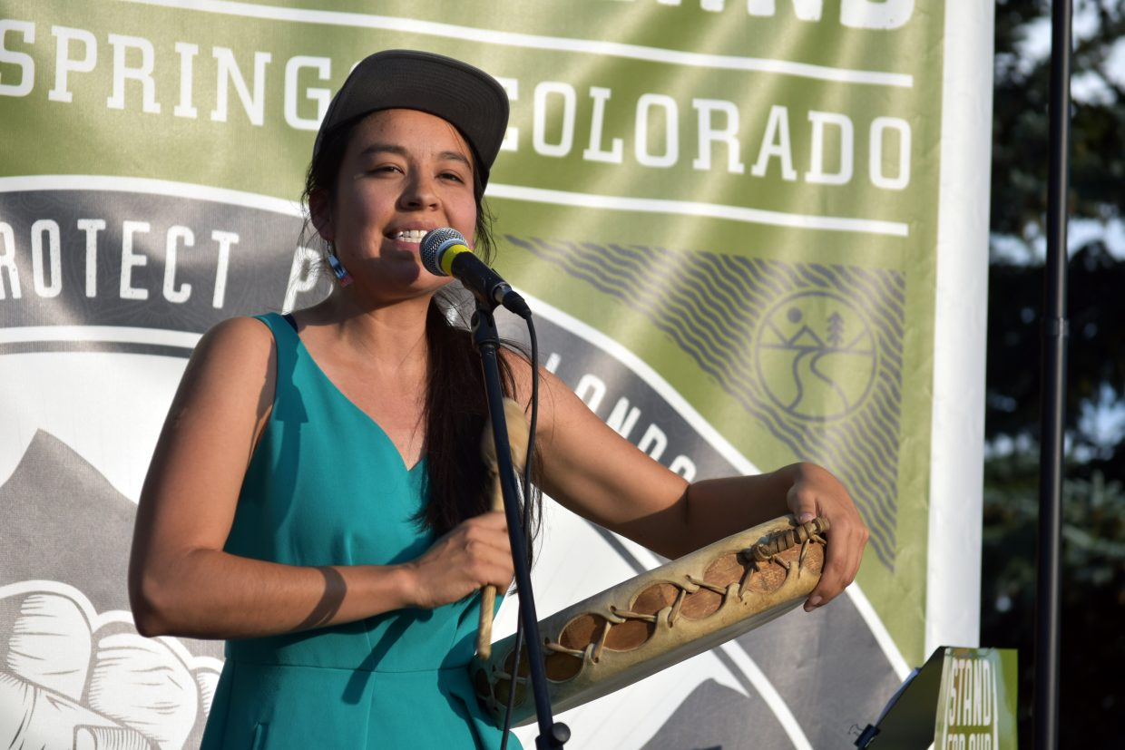 Lyla June sings of ancestors and modern day warriors at the