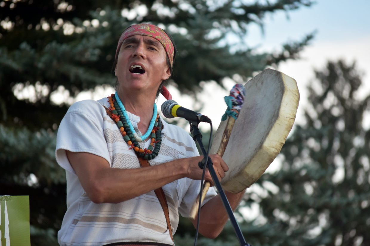 Enrique Maestas, a member of the Lipan Apache tribe and an instructor at Colorado Mountain College sings an Apache blessing at the