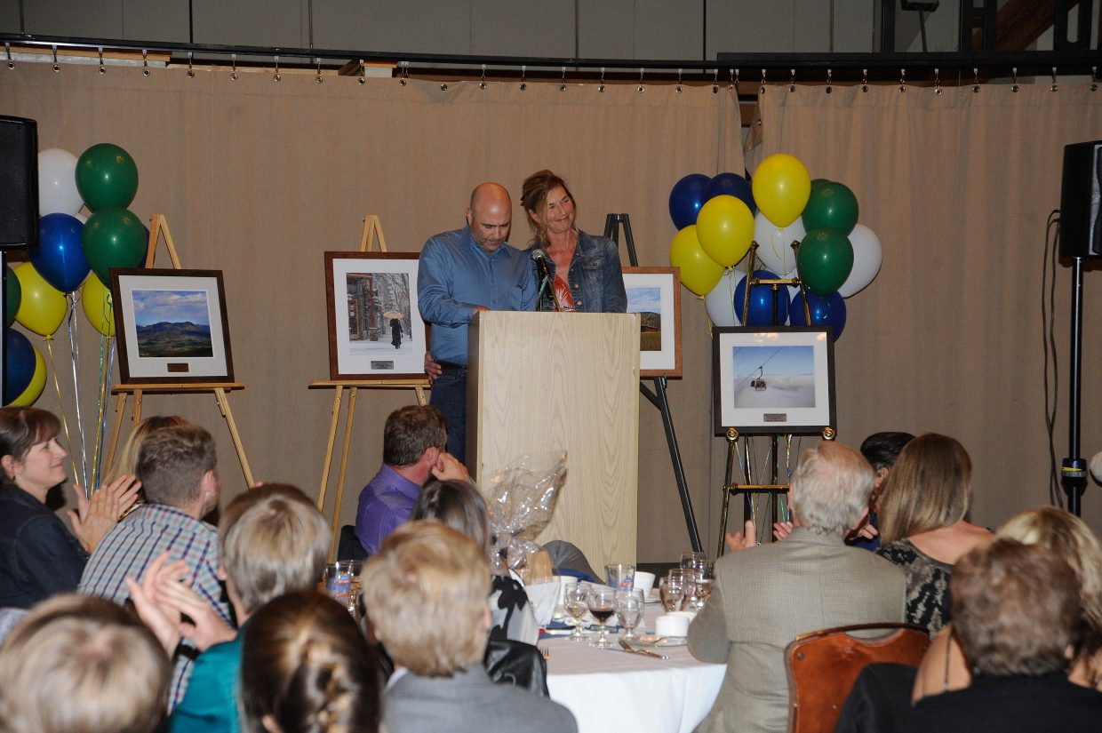 Scott and Kristy Fox, of Freshies Restaurant, accept the Business of the Year award.