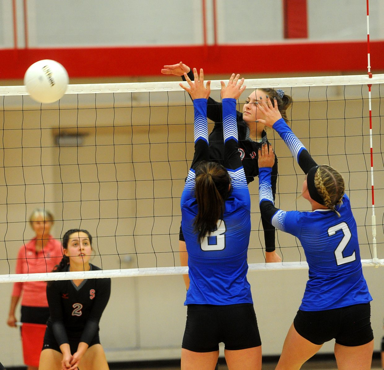 Senior Anna Allsberry nails a ball against Moffat County on Aug. 23 at Steamboat Springs High School. Allsberry is one of the top weapons on the Sailors' offense.