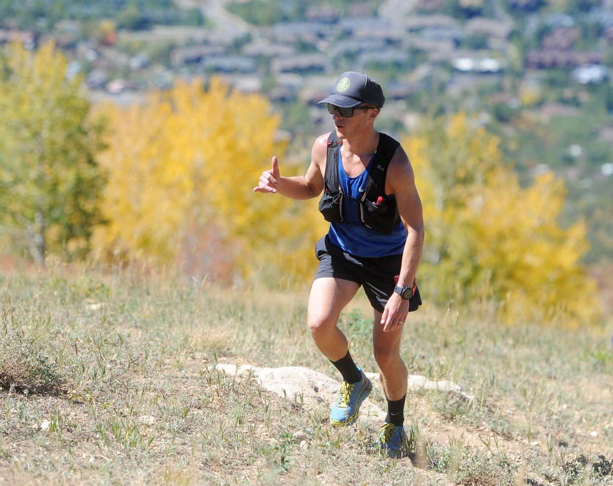 Michael Dicanio from Maplewood, New Jersey, climbs up Steamboat Ski Area in the Run Rabbit Run 100 on Friday, Sept. 14.