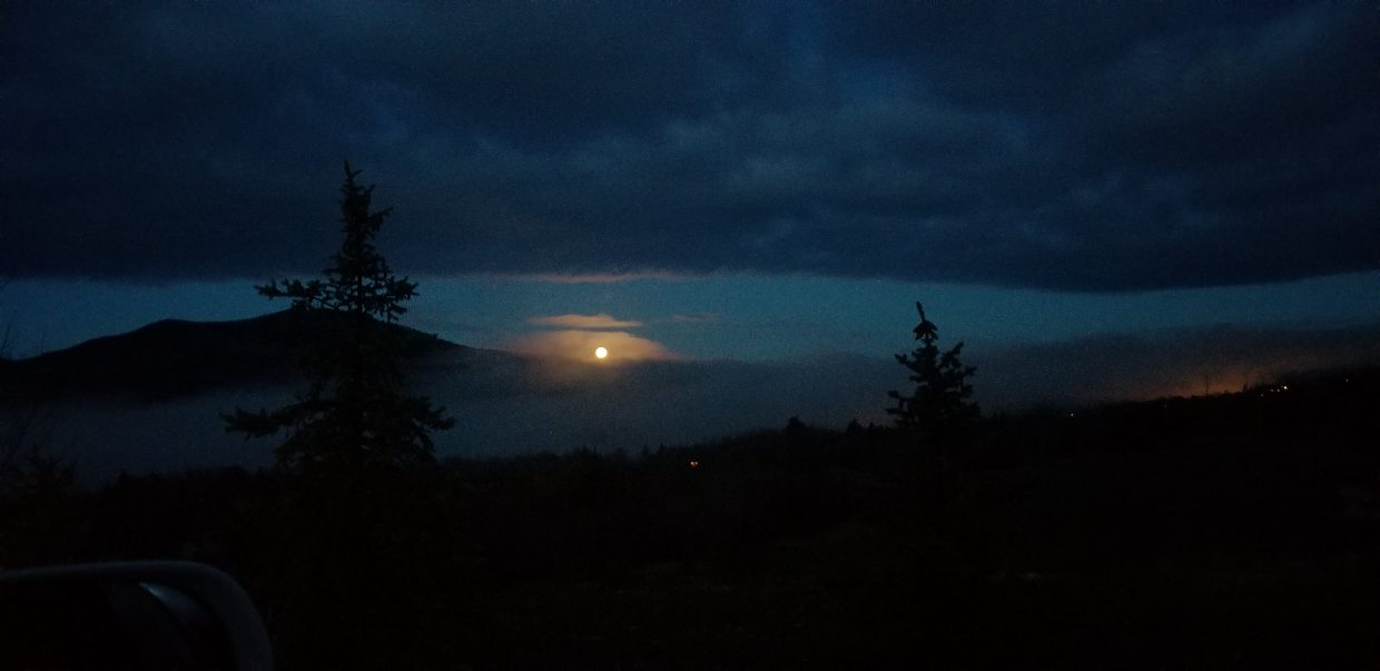 Moon setting on Steamboat.