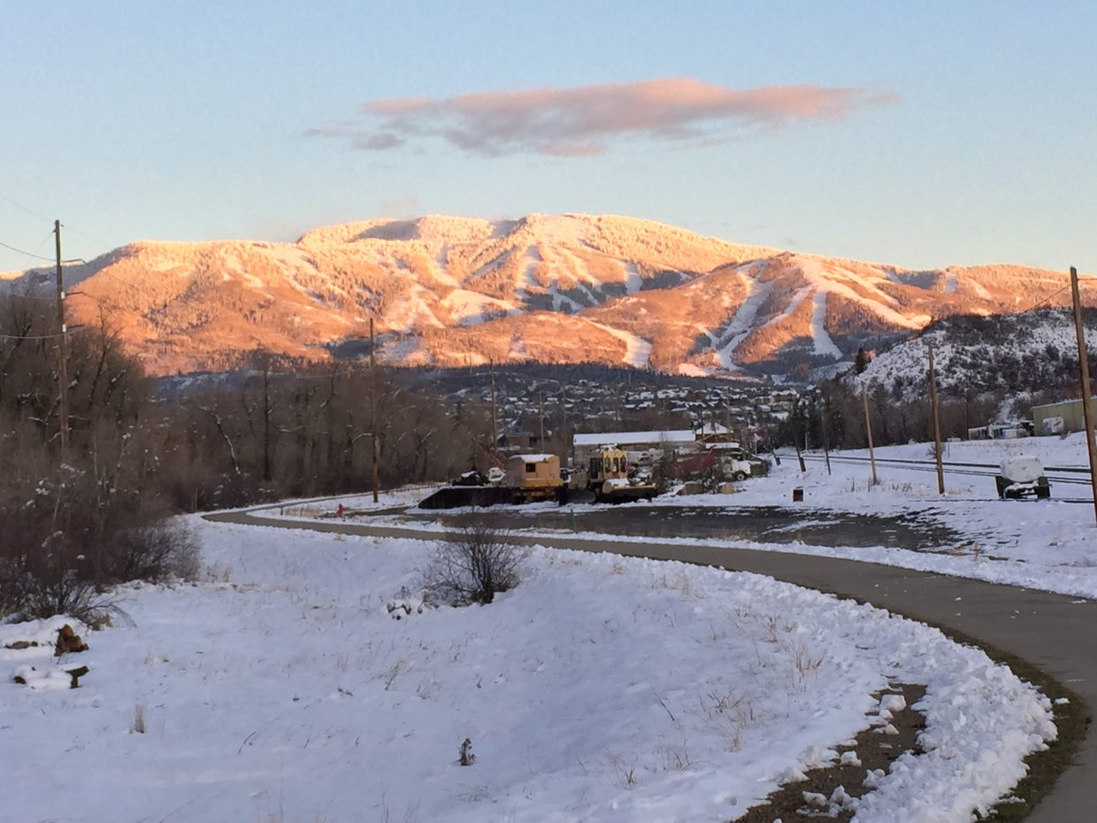 Steamboat Resort from the Yampa River Core Trail.