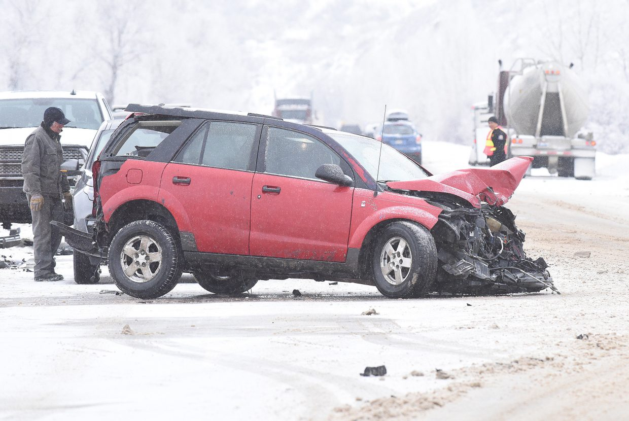 Three vehicle, including a semi,  were involved in a crash on U.S. Highway 40 west of Milner Thursday moring.  Roads were snopacked and slick at the time of the accident.