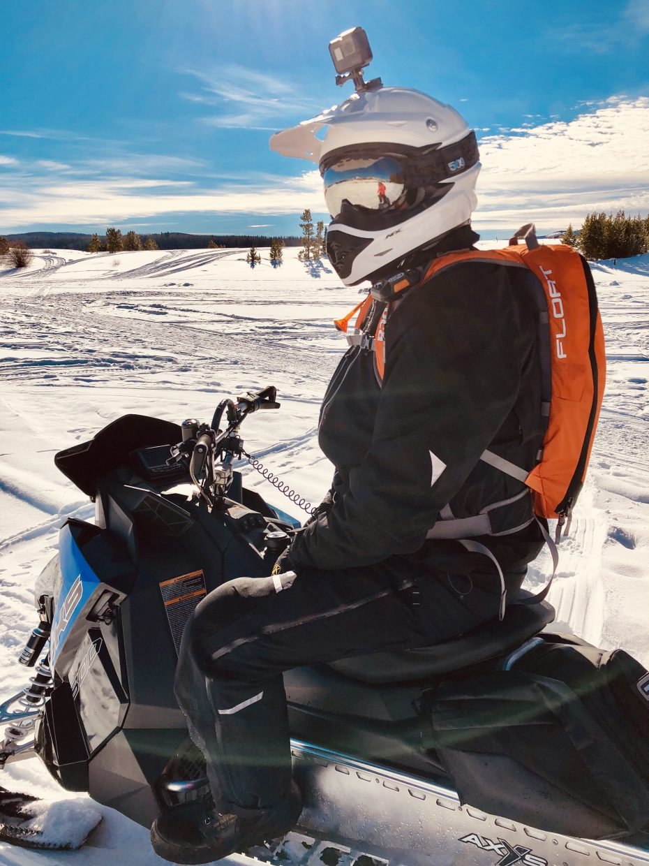 The snowmobile game is on at Steamboat Lake.