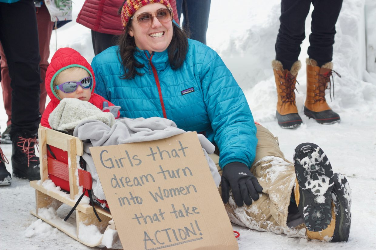 The march brought out a lot of families, many of which were mother-daughter pairs.