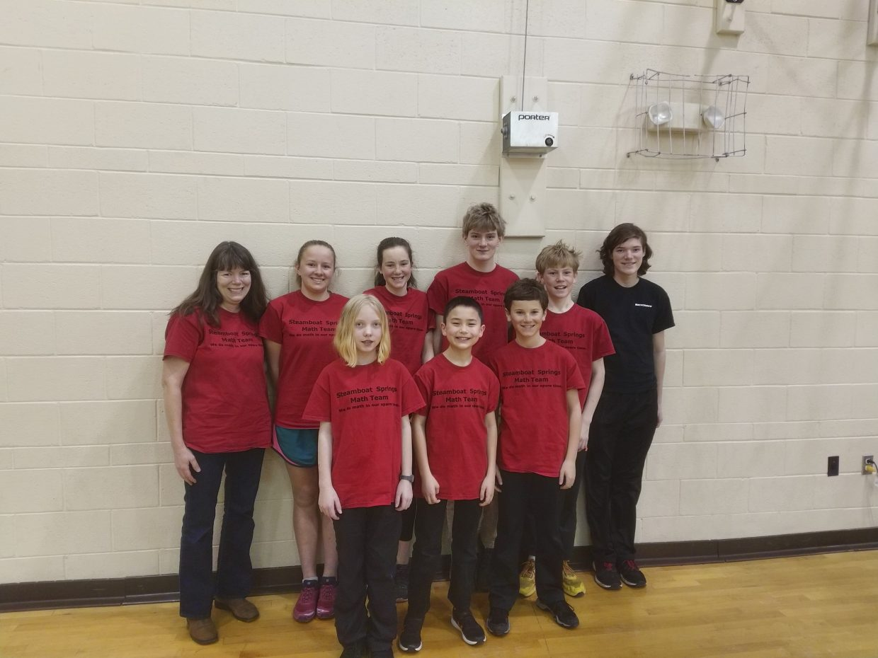 Steamboat Springs Middle School Math Team competed in Grand Junction on Saturday February 23, 2019. The team won first place with Jade Henderson taking first place individual, Connor Frithsen taking third place, and Bryson Lee taking fourth place. The team moves on to state competition in March in Denver. Pictured from left Coach Sally Lambert, Jade Henderson, Charlotte Tegtmeyer, Alena Rossi, Bryson Lee, Connor Frithsen, Kyan Strong, Bryce Kennish, Assistant Coach Shane Lambert.