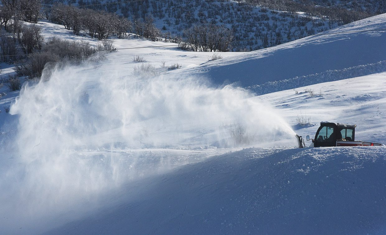 A snowblower clears snow off of Sunlight Drive In Steamboat Springs on Friday morning.
