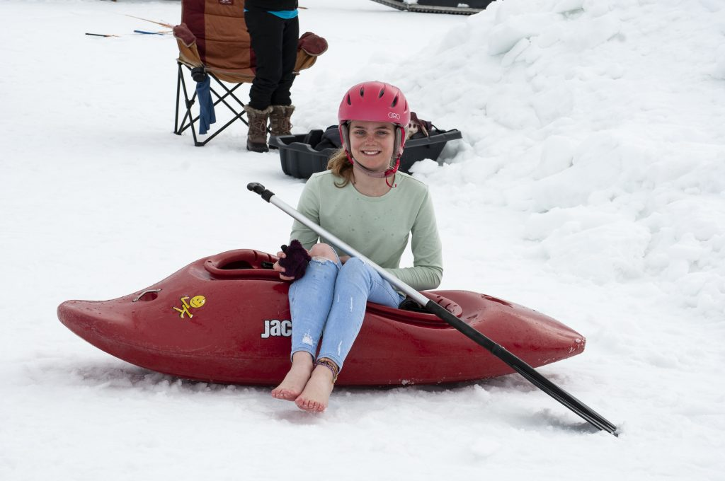 Devyn Kernohan, 13, participated in the Snow Kayak and SUP Race at Howelsen Hill on Sunday, March 24. The event was put on by the Paddling Club at Colorado Mountain College Steamboat Springs.