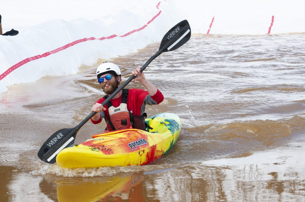 Kevin Fitch paddles to the finish at the Snow Kayak and SUP Race at Howelsen Hill on Sunday, March 24. The event was put on by the Paddling Club, of which Fitch is the president, at Colorado Mountain College Steamboat Springs.