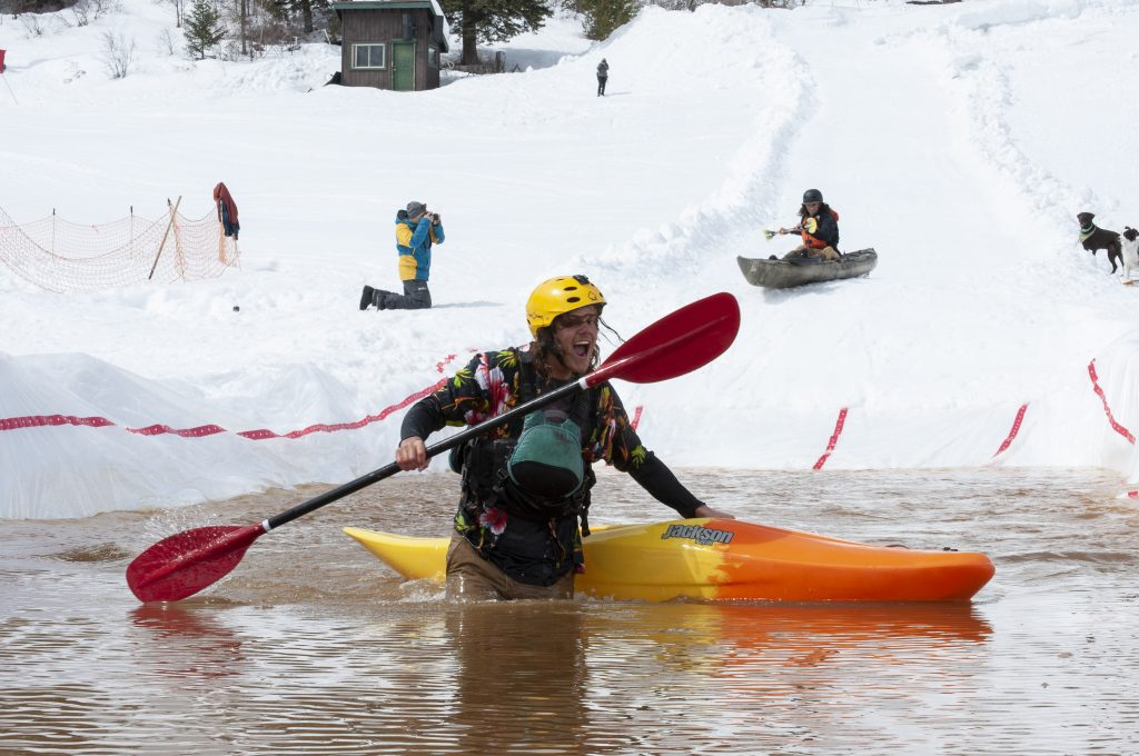 Clara Lundeen, a student at Colorado Mountain College Steamboat Springs, volunteered at the Snow Kayak and SUP Race at Howelsen Hill on Sunday, March 24. The event was put on by the Paddling Club at CMC.