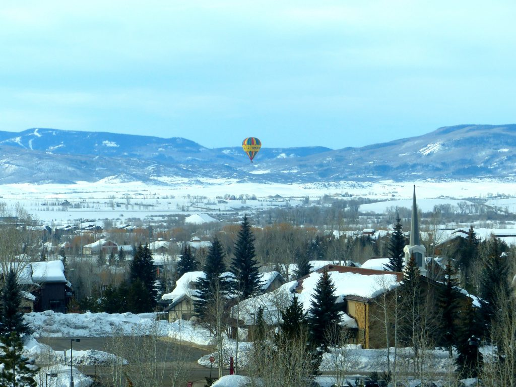 A hot air balloon floats over Steamboat Springs.