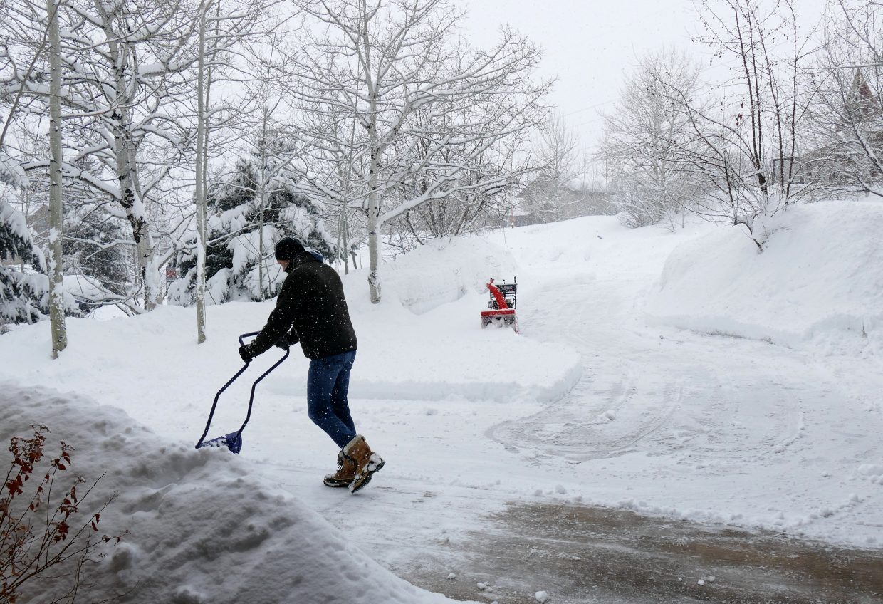The snowblower ran out of gas. The snow is very deep in Steamboat.