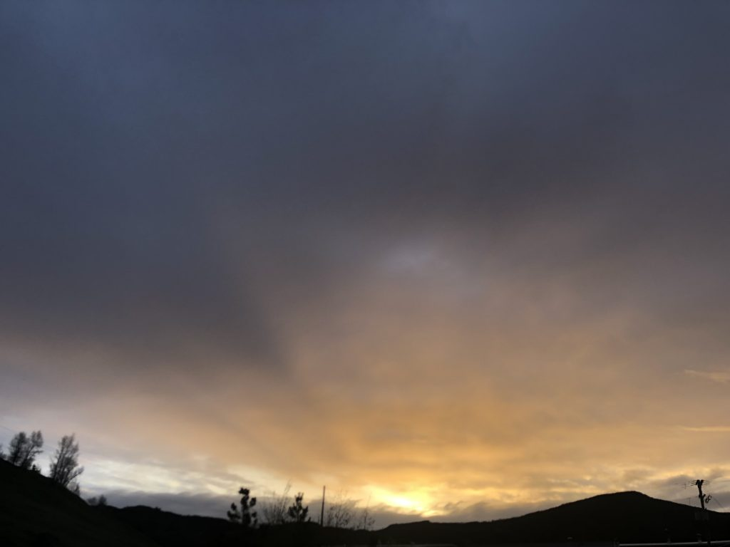 Morning rays before the snow in Routt County.