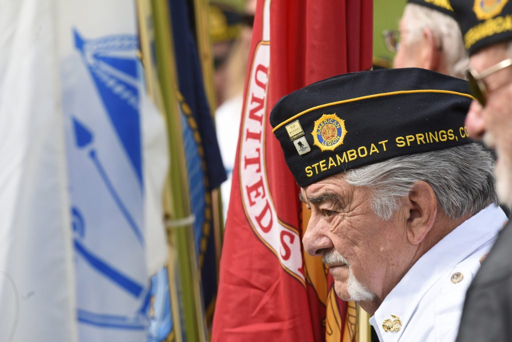 Bob Grippa serves as part of the color guard at Monday's Memorial Day survives at Steamboat Springs cemetery.