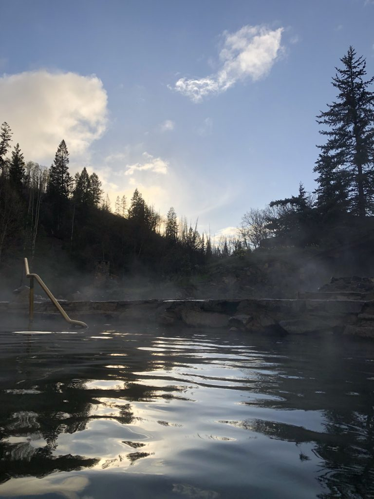 Sunset at Strawberry Park Hot Springs.