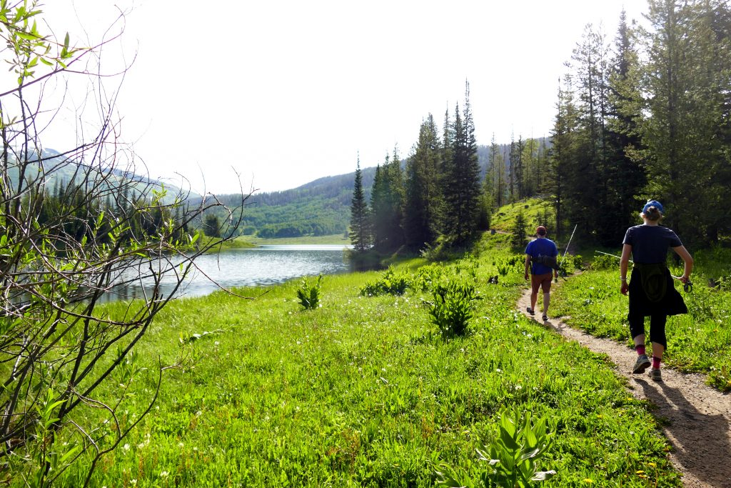 Two people head to fish at Pearl Lake.