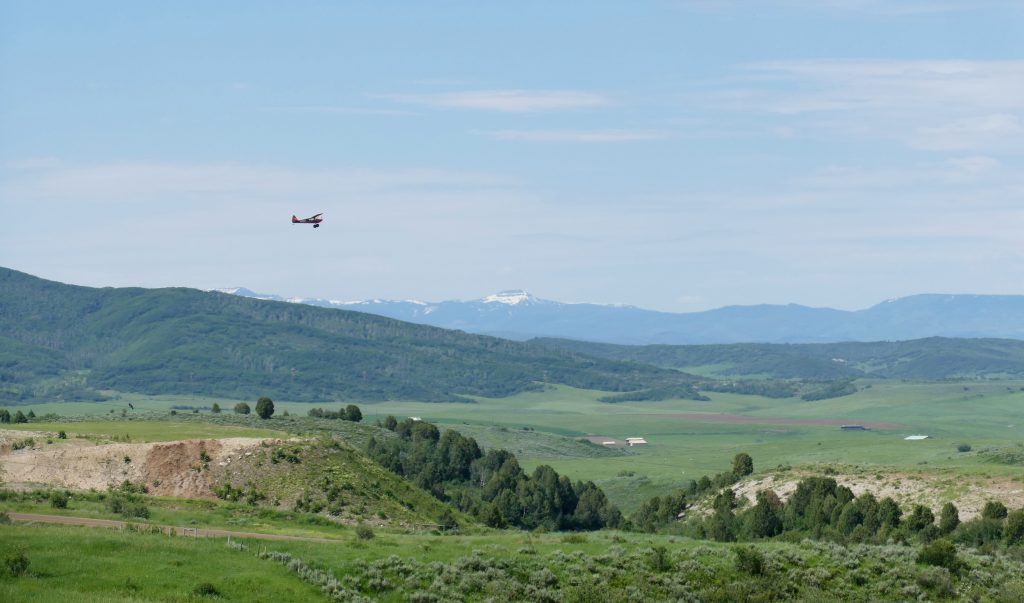 A plane takes off from the Steamboat Airport.