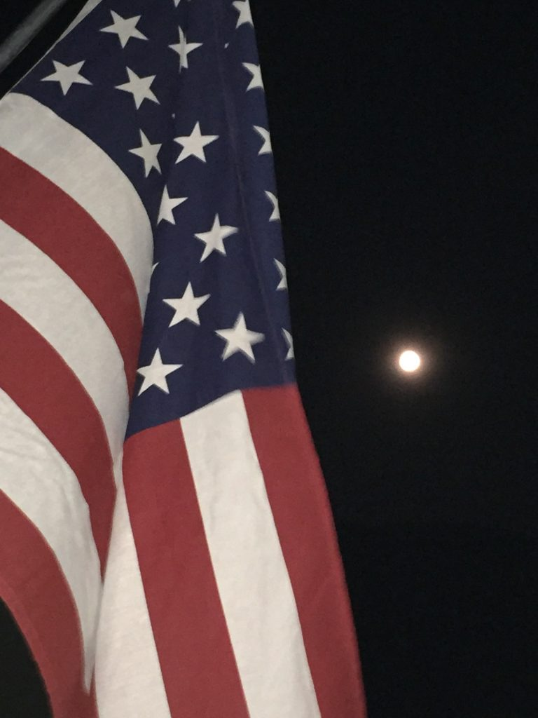 Moon over the stars and stripes