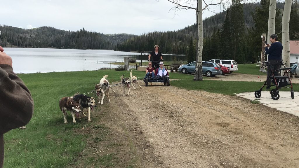 Helen Iacovetto celebrates her 96th birthday with a dog sled ride at the Iacovetto Ranch at Pearl Lake.