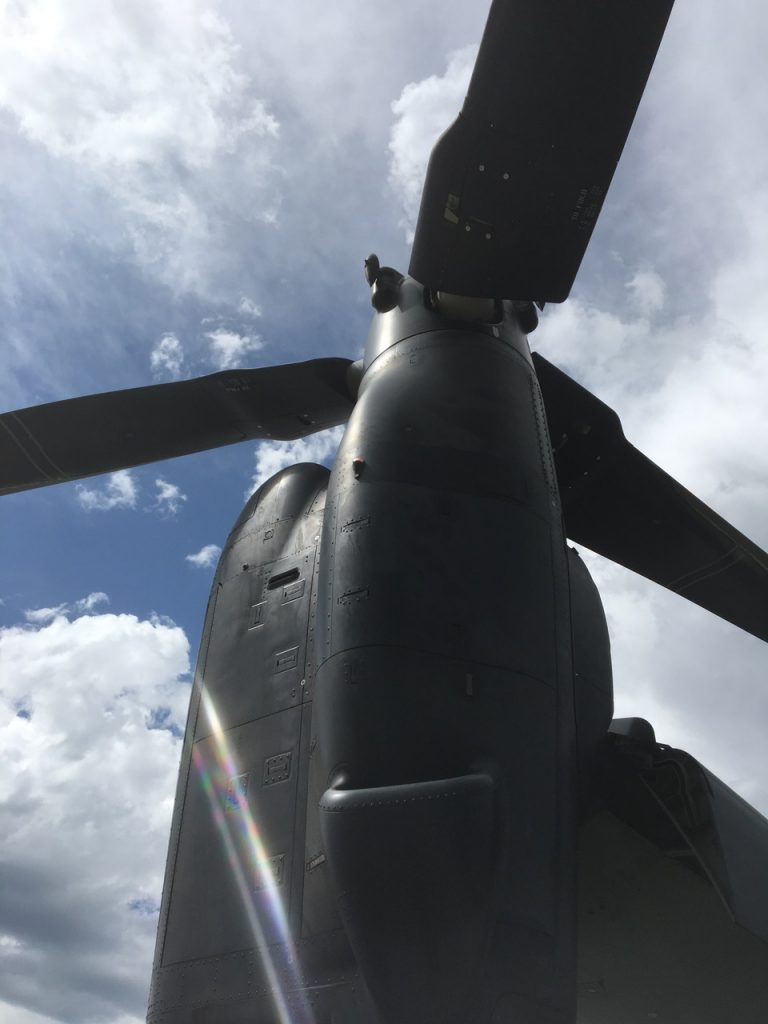 A Bell Boeing V-22 Osprey, out of the Cannon Air Force Base in New Mexico, stopped at the Steamboat Springs Airport to refuel during a training excursion.