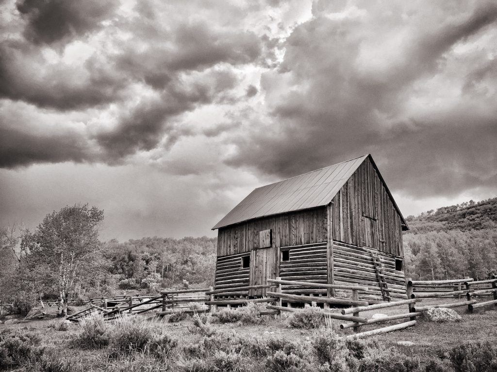 Mad Creek barn looks great in black and white.