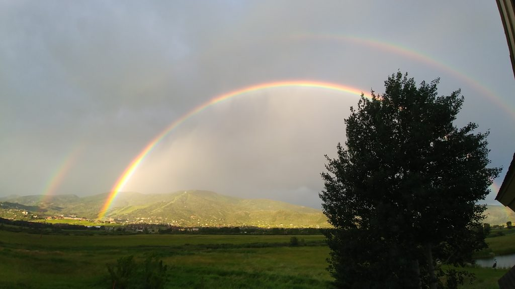 A full double rainbow appears over Mount Werner after a rain storm on Monday, July 22.