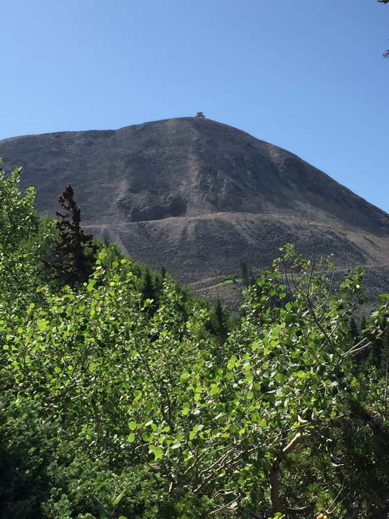 Hahns Peak's fire lookout is just visible at the top.