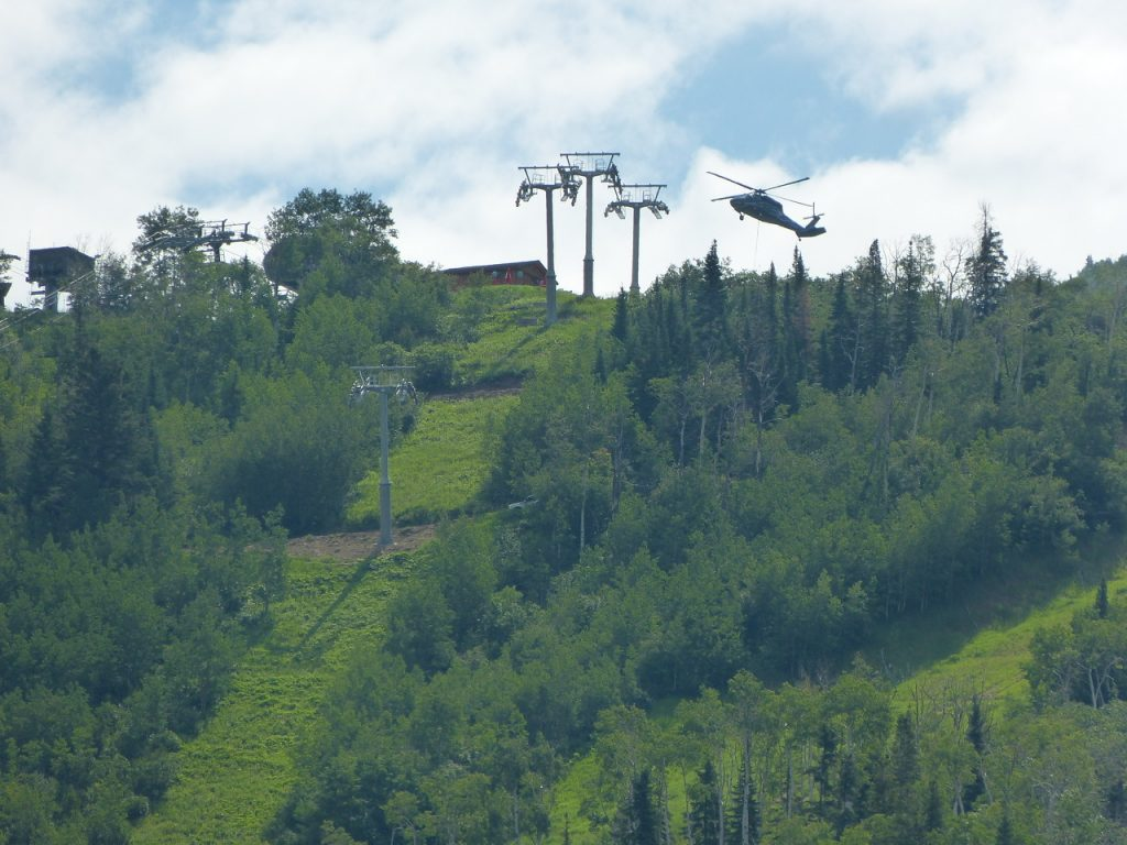 Helicopter over the mountain