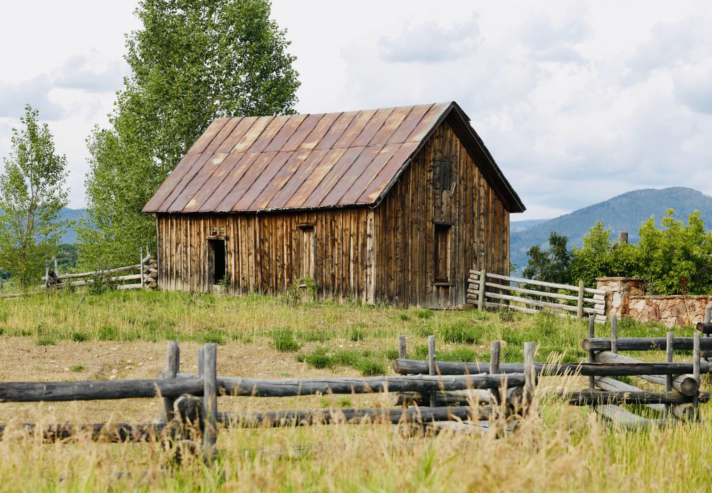 A barn sits back in the field at Marabou Ranch.